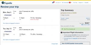 NYC to Edinburgh: Expedia Booking Page
