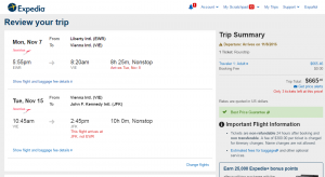 NYC to Vienna: Expedia Booking Page
