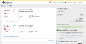Sea to D.C.: Expedia Booking Page