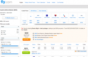 Austin to Boston: Fly.com Results Page