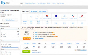 Austin to Ft Lauderdale: Fly.com Results Page