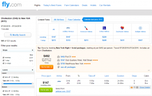 Charleston to NYC: Fly.com Results Page