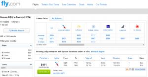 Denver to Frankfurt: Fly.com Results Page