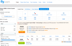 Denver to Cayman Islands: Fly.com Results Page