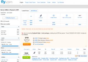 Denver to Reykjavik: Fly.com Results Page