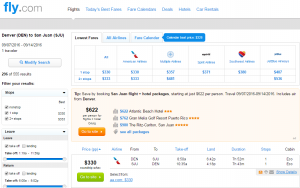 Denver to Puerto Rico: Fly.com Results Page