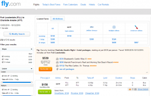 Fort Lauderdale to St Thomas: Fly.com Results Page