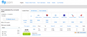 Ft Lauderdale to Austin: Fly.com Results Page