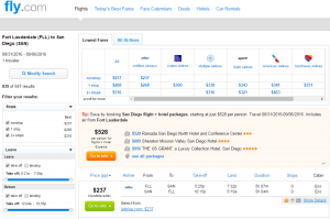 Ft Lauderdale to San Diego: Fly.com Results Page