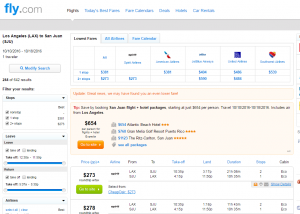 LA to San Juan: Fly.com Results Page