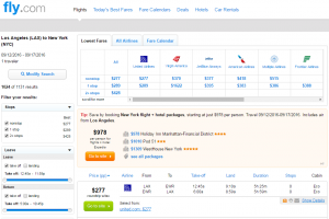 LA to NYC: Fly.com Results Page