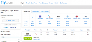 LA to Phoenix: Fly.com Results Page