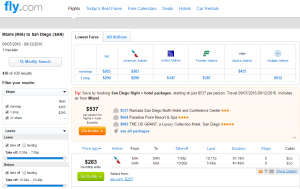 Miami to San Diego: Fly.com Results Page