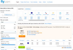 Miami to Venice: Fly.com Results Page
