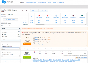 NYC to Bangkok: Fly.com Results Page