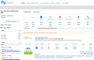 NYC to Edinburgh: Fly.com Results Page