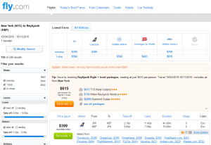 NYC to Reykjavik: Fly.com Results Page