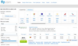 NYC to Lisbon: Fly.com Results Page