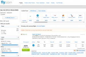 NYC to Madrid: Fly.com Results Page