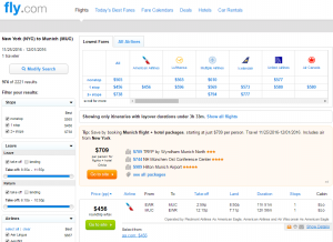 NYC to Munich: Fly.com Results Page