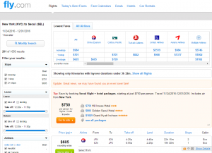 NYC to Seoul: Fly.com Results Page