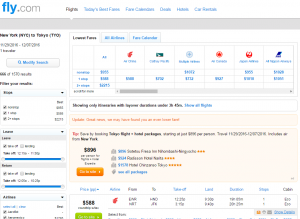 NYC to Tokyo: Fly.com Results Page