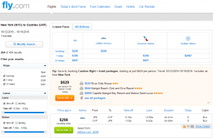 NYC to St Lucia: Fly.com Results Page