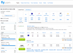 NYC to Vienna: Fly.com Results Page