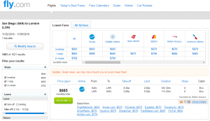 San Diego to London: Fly.com Results Page