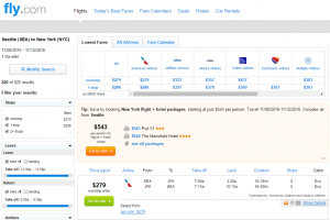 Seattle to NYC: Fly.com Results Page