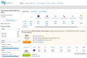 SF to NYC: Fly.com Results Page