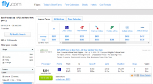 SFto NYC: Fly.com Results Page