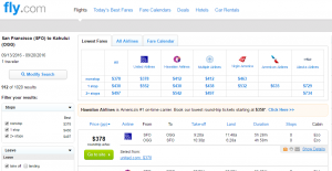 SF to Maui: Fly.com Results Page