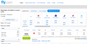 D.C. to London: Fly.com Results Page