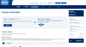 Austin to Ft Lauderdale: JetBlue Booking Page