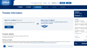 NYC to Charleston: JetBlue Booking Page