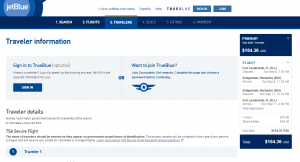 Fort Lauderdale to Barbados: JetBlue Booking Page