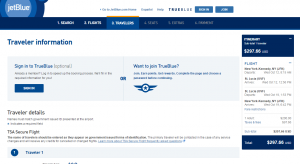 NYC to St Lucia: JetBlue Booking Page