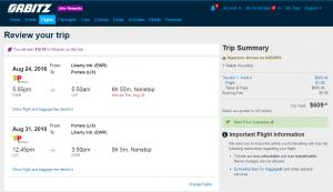 NYC to Lisbon: Orbitz Page