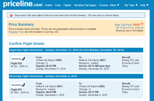 Chicago to Reykjavik: Priceline Booking Page