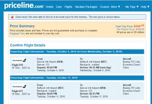 Denver to Reykjavik: Priceline Booking Page