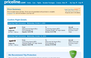 Fort Lauderdale to St Thomas: Priceline Boking Page
