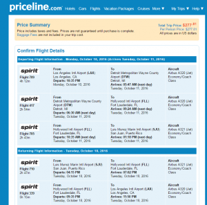 LA to San Juan: Priceline Booking Page
