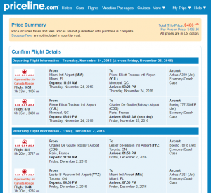 Miami to Paris: Priceline Booking Page
