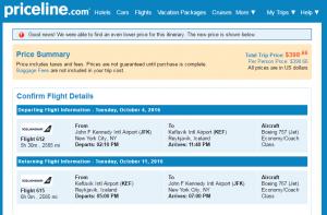 NYC to Reykjavik: Priceline Booking Page