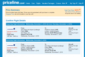 San Diego to London: Priceline Booking Page