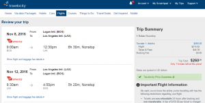Boston to LA: Travelocity Booking Page