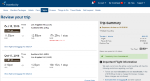 Los Angeles to Auckland: Travelocity Booking Page