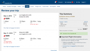 LA to Seoul: Traveloctiy Booking Page