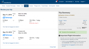 Miami to Lisbon: Travelocity Booking Page